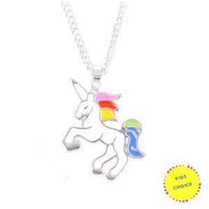 Girls unicorn necklace silver